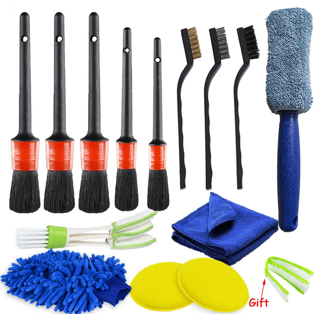 3Pcs Blue Dashboard Cleaner Air Vent Outlet Cleaning Brush for Car Vehicle