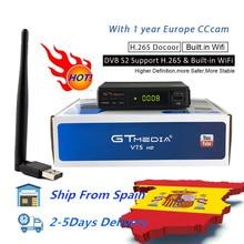 DVB s2 GT media V7s HD Satellite receiver with USB WIFI one year spain CCCAM line TV Receiver freesat V7 H.265 youtube