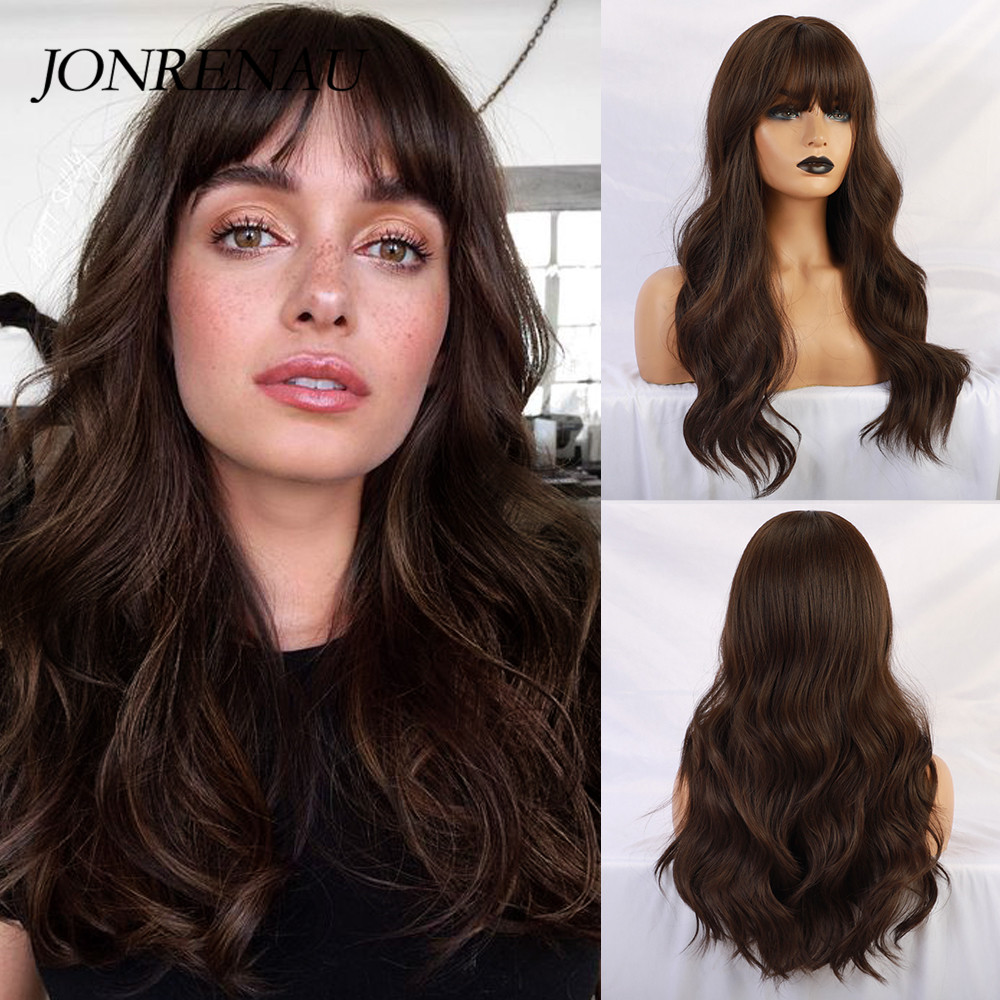 JONRENAU Long Brown Color Synthetic Natural Wave Wigs with Neat Bangs for White/Black Women Party Wear