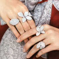 UILZ Luxury AAA Cubic Zirconia Micro Pave setting White Gold flower shaped Big Open Rings For Womens Accessaries UR2035