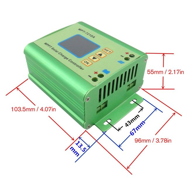 MPT-7210A Color LCD Display MPPT Solar Panel Charge Controller 24/36/48/60/72V Boost Solar Battery Controllers 2