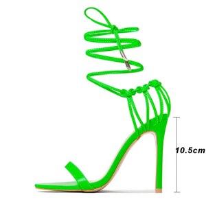 Image 5 - Kcenid แฟชั่น 2020 ฤดูร้อนผู้หญิงรองเท้าแตะ PU LACE up Knot ส้นสูงรองเท้าแตะเซ็กซี่เสือดาวรองเท้าผู้หญิงรองเท้าแตะปั๊มใหม่