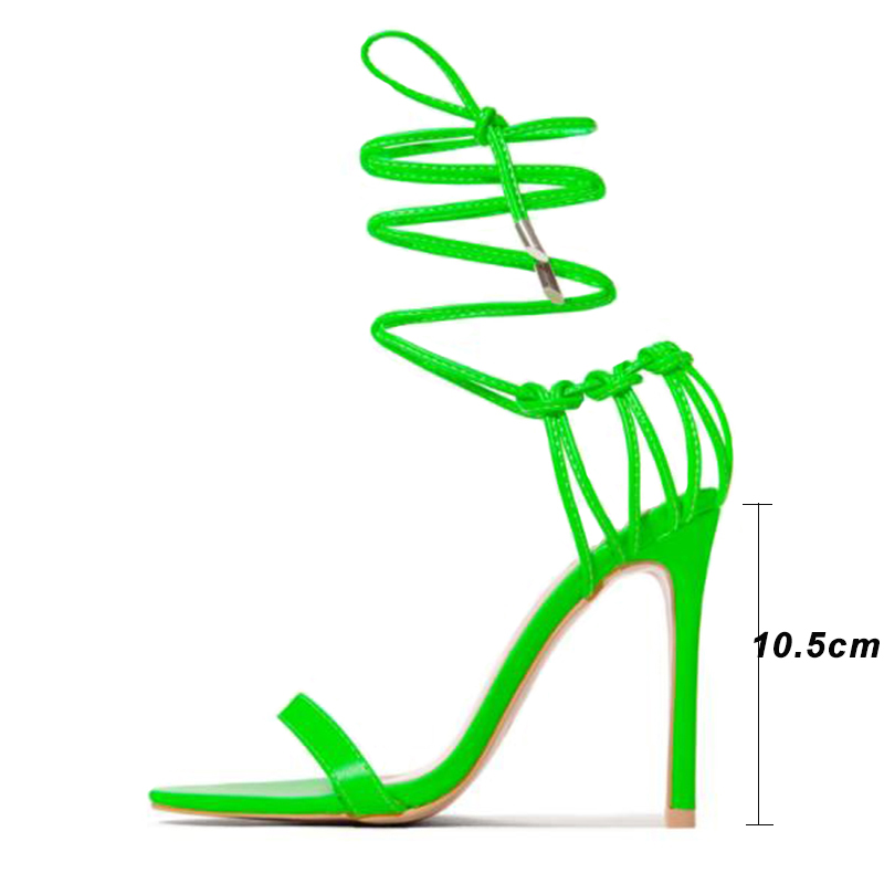 Image 5 - Kcenid Fashion 2020 summer womens sandals PU lace up knot ladies high heel sandals sexy leopard woman shoes sandalen pumps newHigh Heels   -