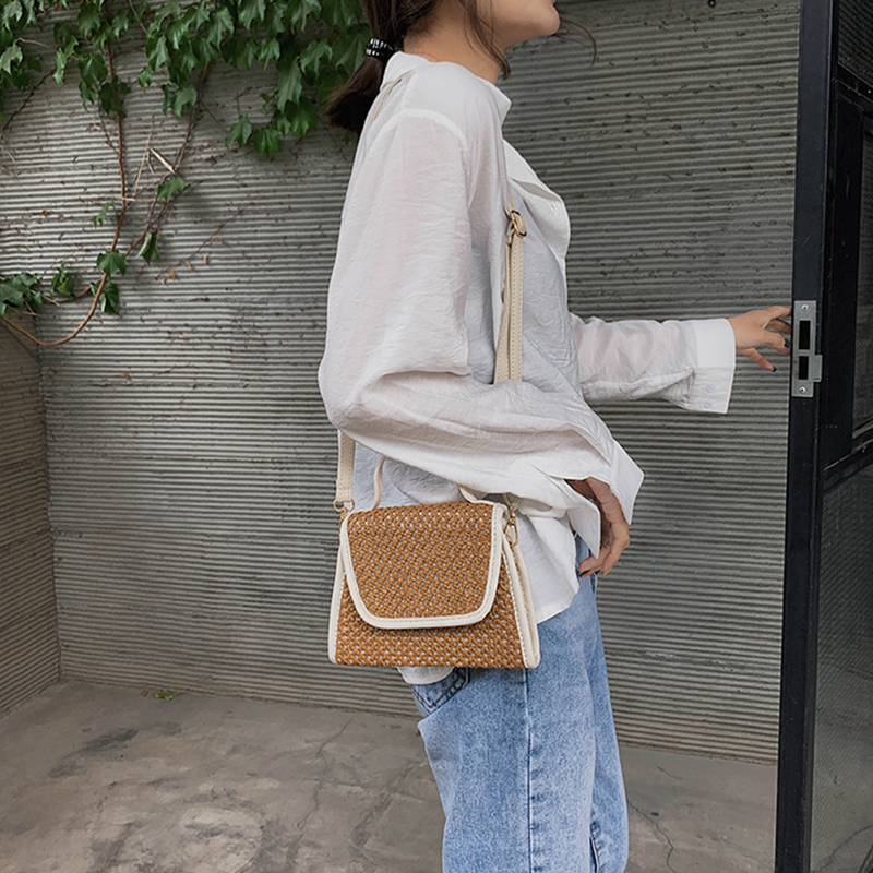 Women Crossbody Bags Casual Straw Bag Designer Girls Rattan Shoulder Bag Beach Small Bags in Top Handle Bags from Luggage Bags