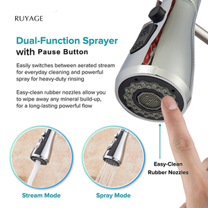 RUYAGE RY01 Kitchen faucet Brushed Nickel Mixer Faucet Single Hole Pull Out Spout Sink Mixer Tap Stream Sprayer Head Chrome