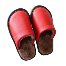 Women Winter Plush Slippers Non Slip Indoor For Slipper Leather House Shoes Waterproof Women Sewing Adult Warm Fur Shoes 35-45 winter home slipper man women despicable me minions slippers plush stuffed funny slippers flock indoor house shoes adult cosplay