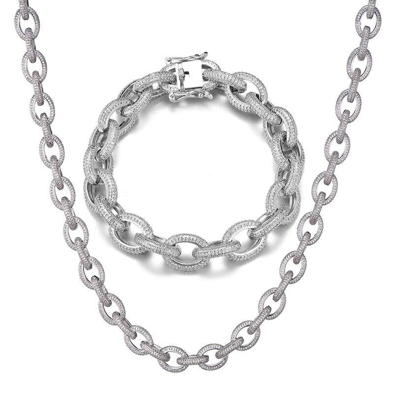 12MM glacé AAA CZ torsadé ovale cubain lien chaîne collier grand fermoir or argent couleur Zircon pour hommes cuivre bijoux - 5