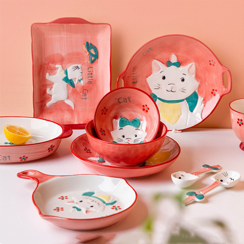 Japanese Hand-painted Ceramic Dishes Pink Cat Underglaze Craft Household Restaurant Plate Bowl Spoon Breakfast Fashion Tableware