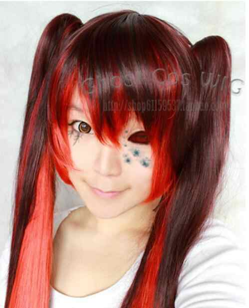 Free Shipping Vocaloid Bacterial Contamination Gradient Colour Cosplay Wig+2 clip Ponytail