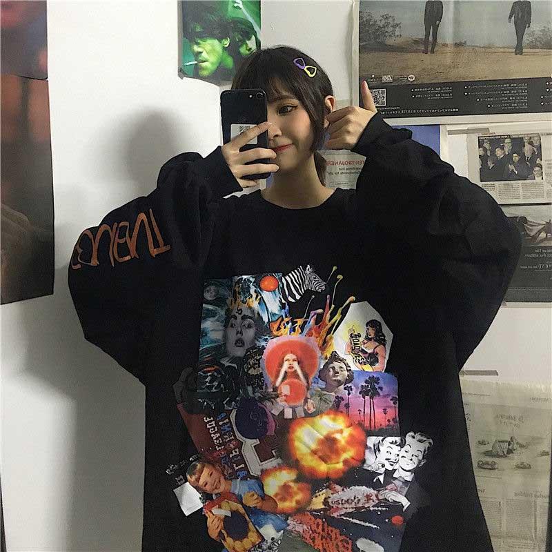 NiceMix  Harajuku Style Poster Graffiti Print Hoodies Autumn Streetwear Loose Long Sleeve Pullover Thin Sweatshirt Women Cloth