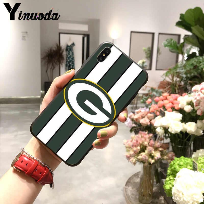 Yinuoda สีเขียว Bay Packers TPU สีดำโทรศัพท์กรณีสำหรับ iPhone X XS MAX 6 6s 7 7plus 8 8Plus 5 5S SE XR 11pro max