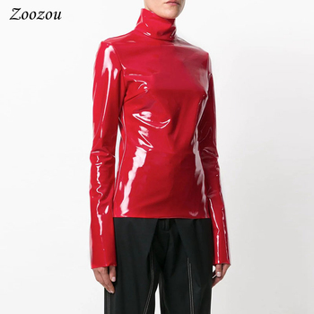 Women Latex Patent Leather Long Sleeve Tops Back Zipper Turtleneck Warm Pullover Black Red Leather Clothes Streetwear Custom 1
