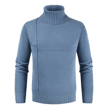 Puimentiua Mens Turtleneck Sweater New Fashion Long Sleeve Solid Color Casual Slim Knit Pullover 2019