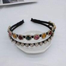 Gem Headband Jewelled Headbands Double Rhinestone Wedding Tiara Hair Accessories Luxury Jewelry Baroque Hairbands 2019