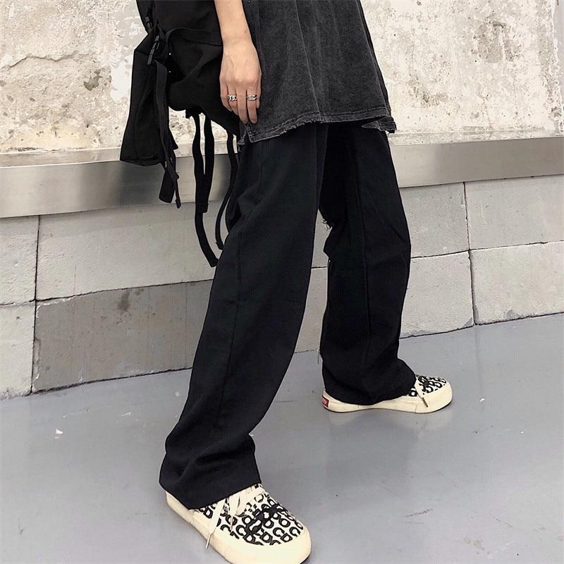 Focal20 Streetwear Solid Zipper Women Pants Casual Loose Elastic Waist Straight Leg Female Trousers Spring Autumn Lady Bottoms 10