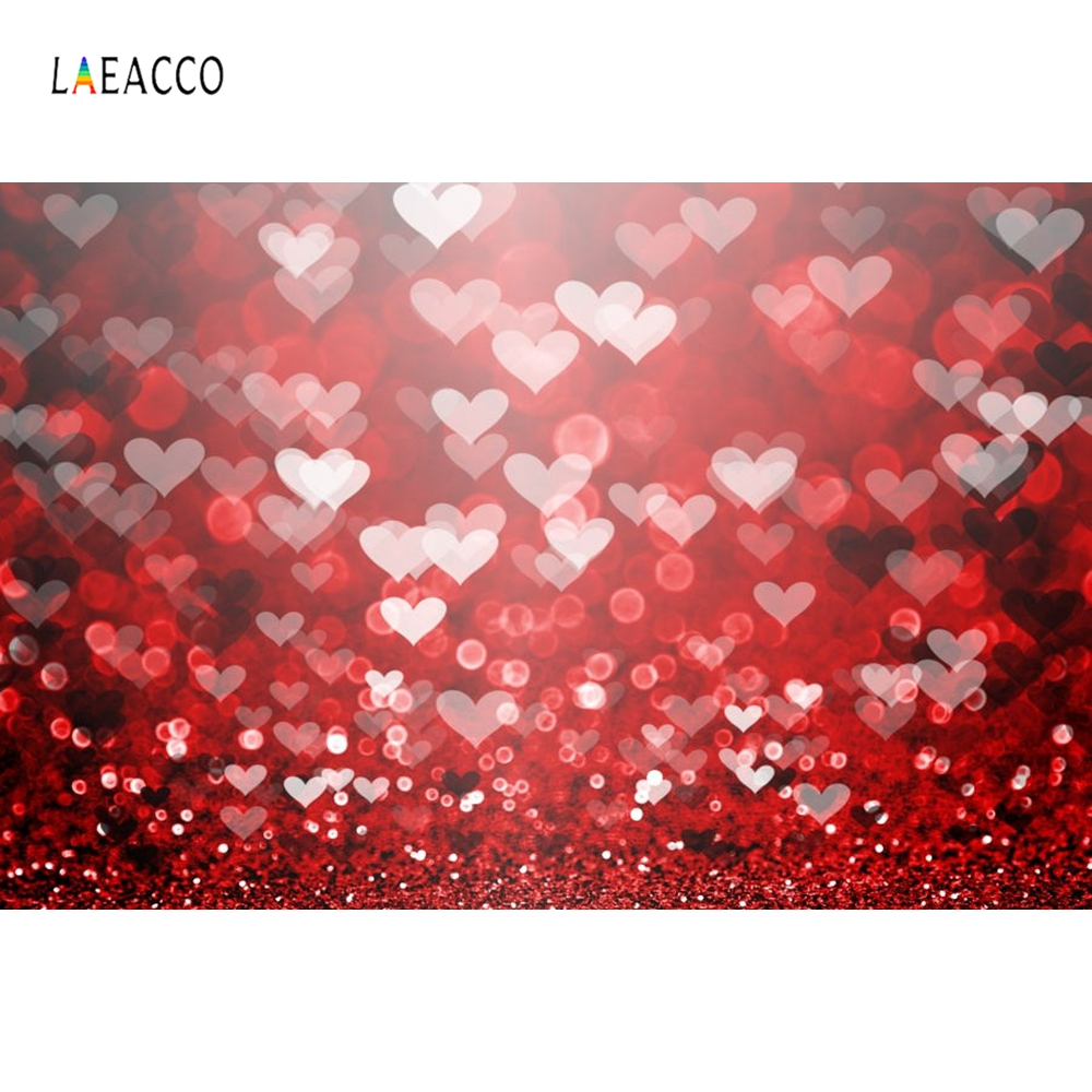 Laeacco Glittering Love Heart Red Spots Valentines Day Scene Kid Photography Backgrounds Photographic Backdrop For Photo Studio