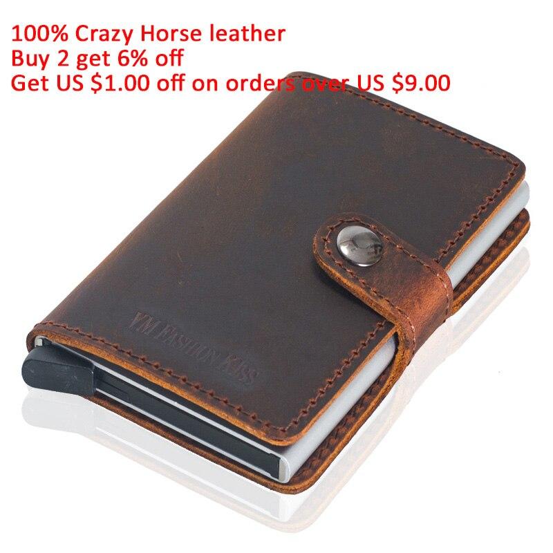 Real Crazy Horse Leather Minimalist Vintage Rfid Wallet Security Men Wallets Mini Aluminum Box Purse Credit Card Holder Metal