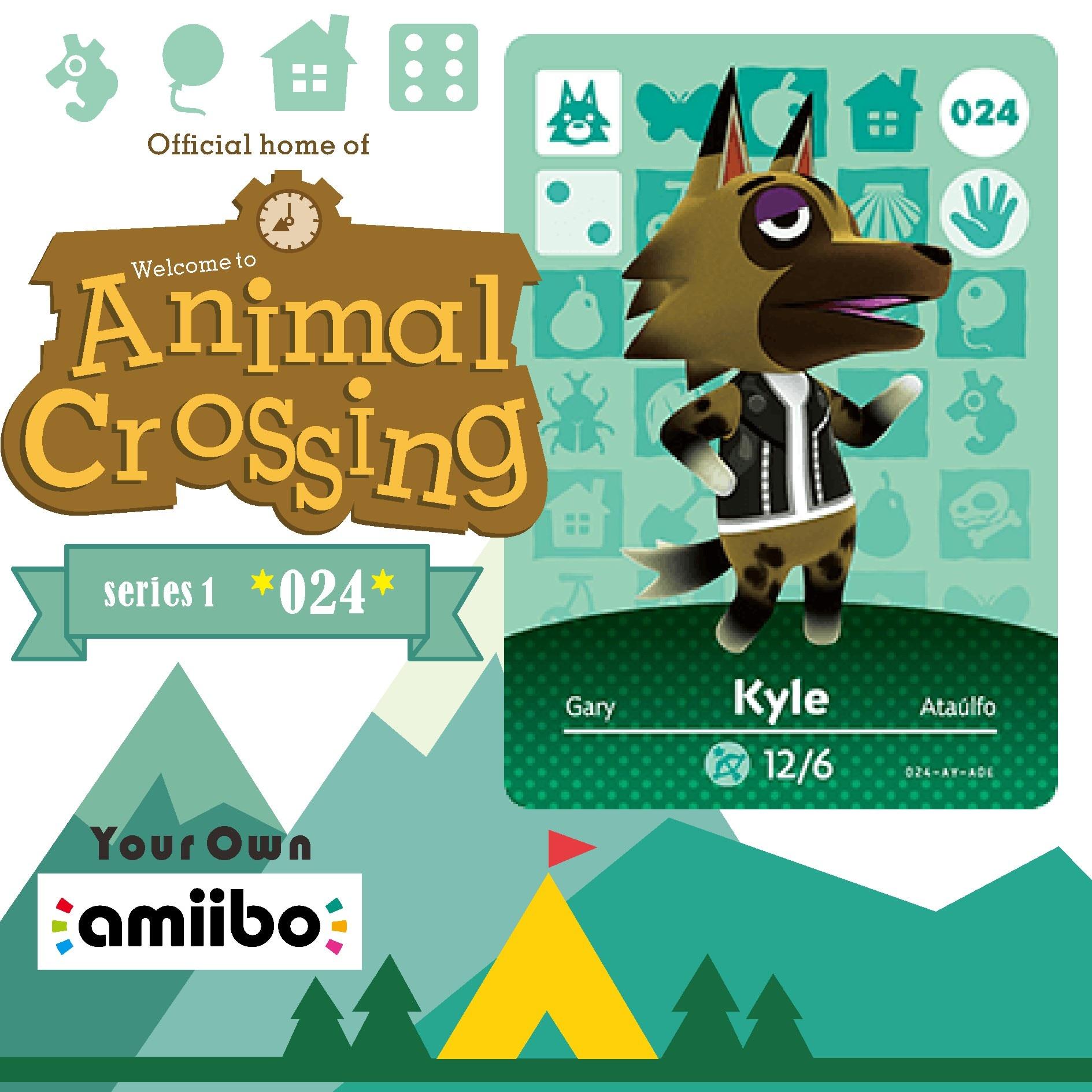 024 Kyle Welcome Amiibo Kyle  Cross Game Card Animal Crossing Card Amiibo Card Kyle 024 Work for Ns Games Amiibo 024 Kyle 1
