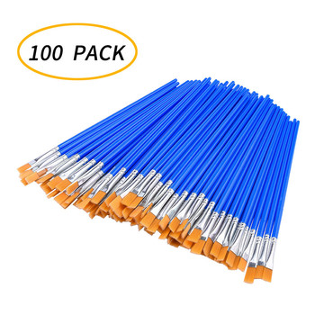 100 Pcs Flat Paint Brushes Nylon Hair Wooden Handle Watercolor Paint Brush Pen For Learning DIY Art Paint Brushes Supplies #15