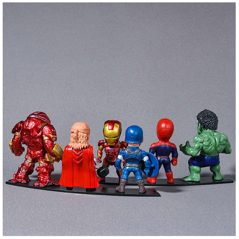 6 pçs disney marvel vingadores infinito guerra thanos homem de ferro homem de aranha batman capitão américa figura de ação brinquedos bonecas 9cm quente