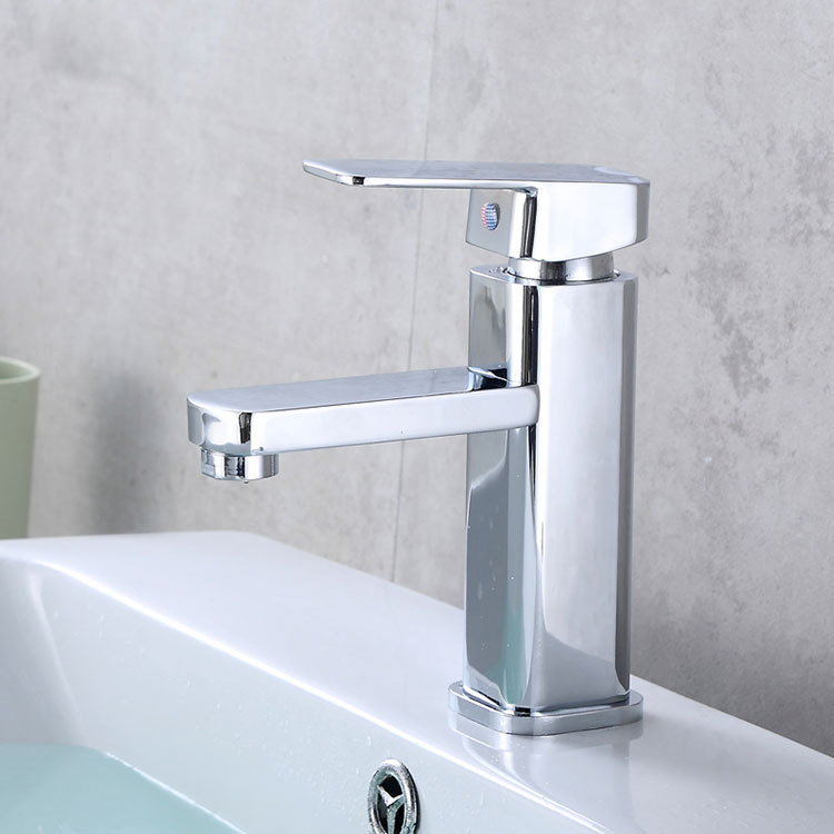 Manufacturers Wholesale Electroplated Square Single Bore Wash Basin Hot And Cold Faucet Square Basin Bathroom Cabinet Mixing Fau