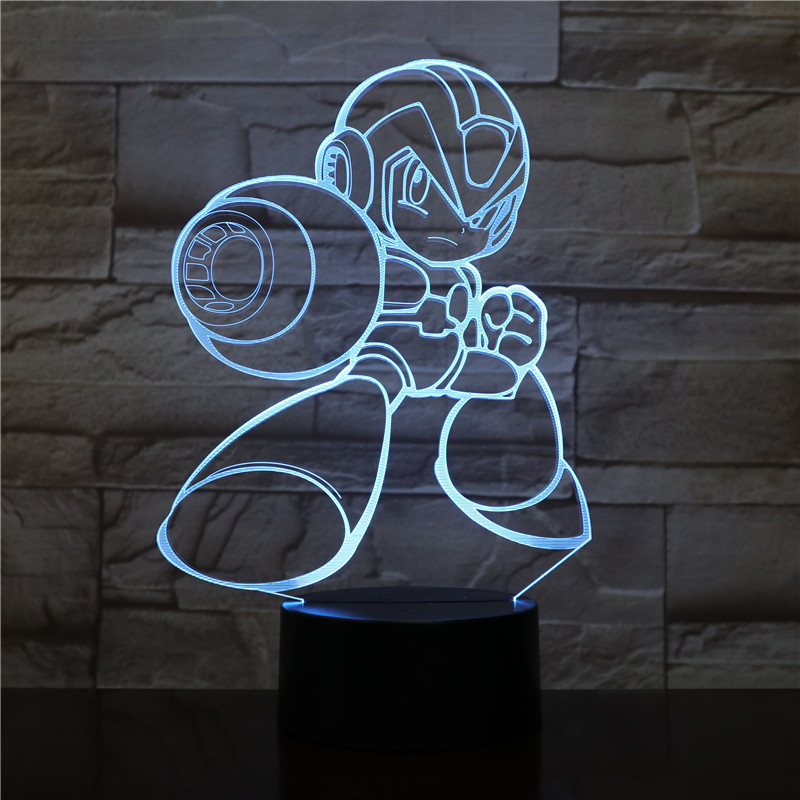 Rockman Figure USB 3D LED Table Lamp Bedside Night Light Multicolor RGB Decorative light Boys Child Kids Baby Gifts Game Megaman