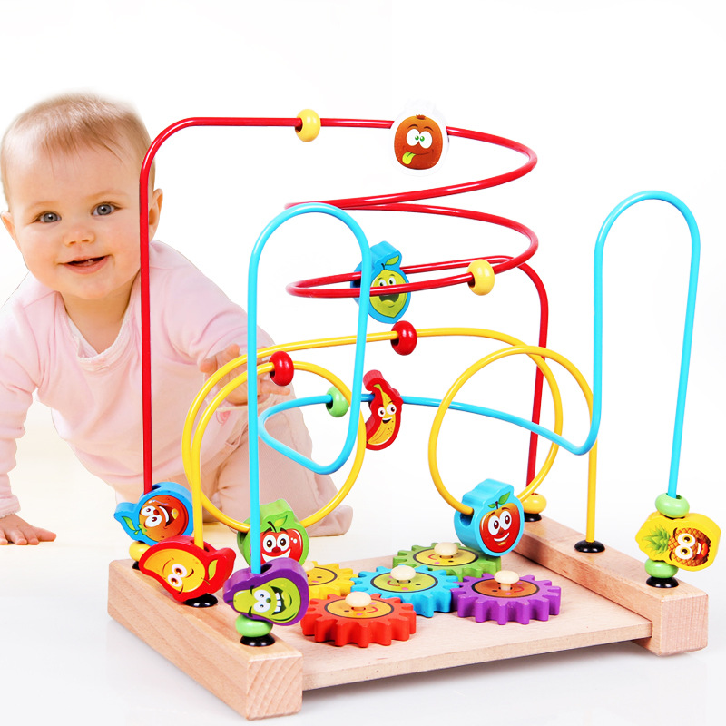 Hi Wood Children Wooden Bead-stringing Toy Early Childhood Educational Abacus Calculation Bead-stringing Toy Educational Force W