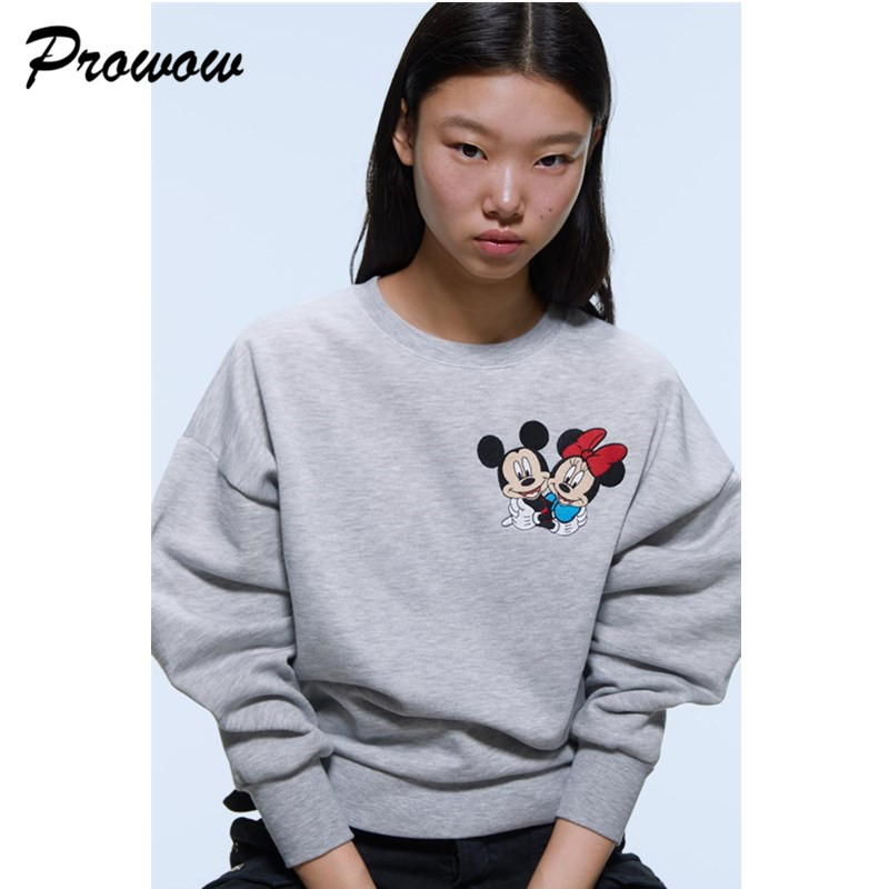 Mickey Hoodies Sweatshirts Women Regular Sweatshirt Cotton Thickening Couple Pullover Women Loose Tops For Ladies Sweatshirts