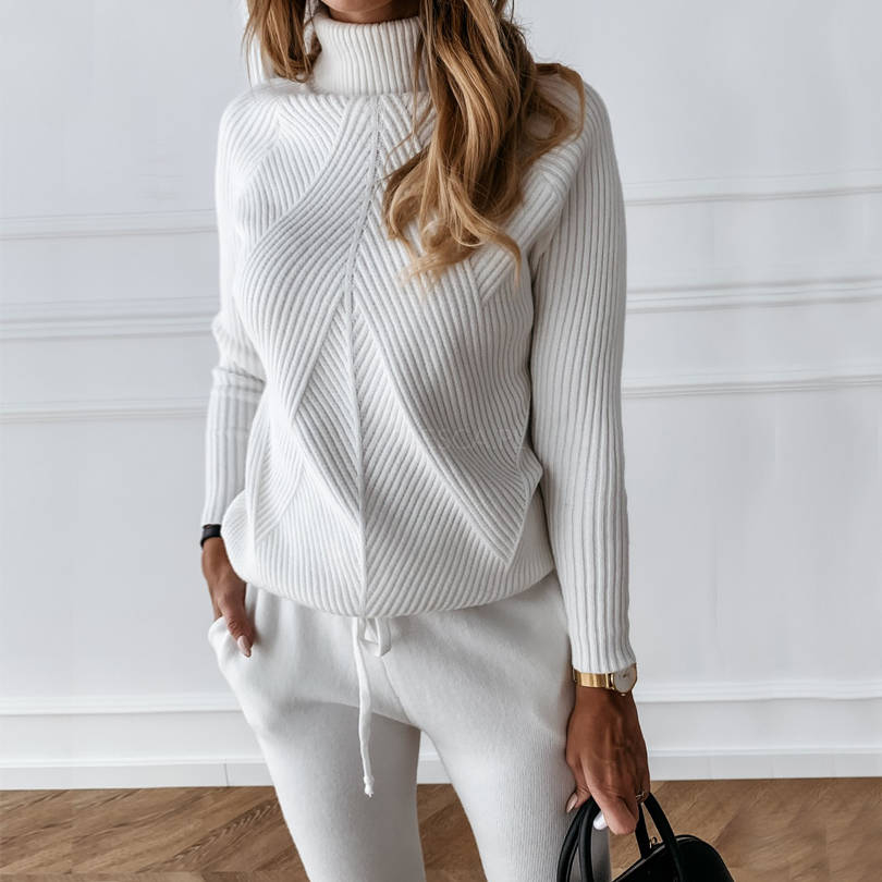 Women's Tracksuit Sweater Turtleneck Elastic-Trousers Two-Piece-Set Knitted Autumn Striped