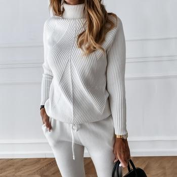 Спортивный костюм TYHRU женский однотонный, свитер в полоску с высоким воротником и эластичные брюки, трикотажный комплект из двух предметов, Осень-зима