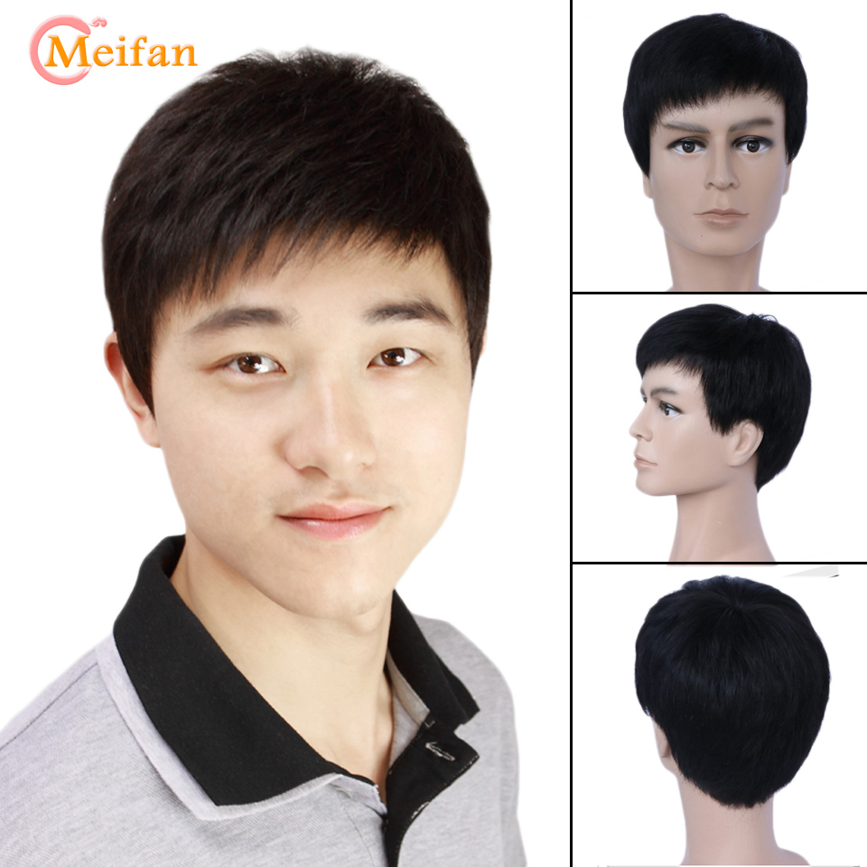 MEIFAN Synthetic Short Full Wigs Men Short Beautiful Natural Fake Hair Wigs For Men Middle East Gentleman High Temperature Fib