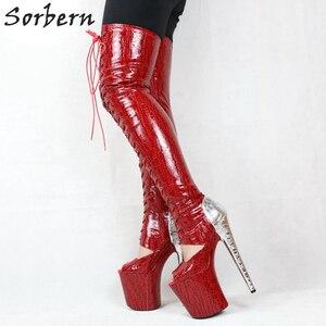 Image 2 - Sorbern cobra vermelha peep toe tornozelo botas mulher 20 cm sapato de salto alto rendas acima botas plataforma exótica sapatos stripper ins venda quente
