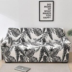 Image 4 - Folha floral impressão estiramento sofá capa para sala de estar algodão mobiliário protetor único loveseat sofá capa braço cadeira capa
