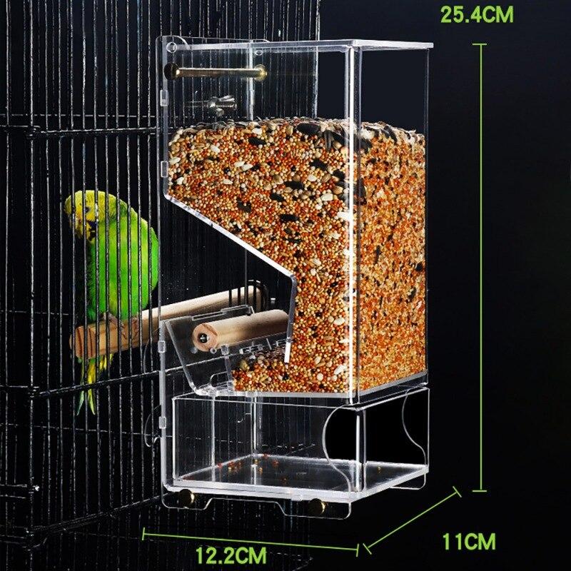 Alimentador de papagaio à prova de respingo anti-respingo pássaro aves alimentador automático acrílico caixa de alimentos papagaio pombo animal de estimação pássaro brinquedo #