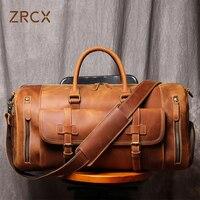 ZRCX männer Echte Leder Reisetasche Business Handtasche Erste Schicht Kuh Leder Gym Tasche Leder Seesack Für 13 zoll Laptop