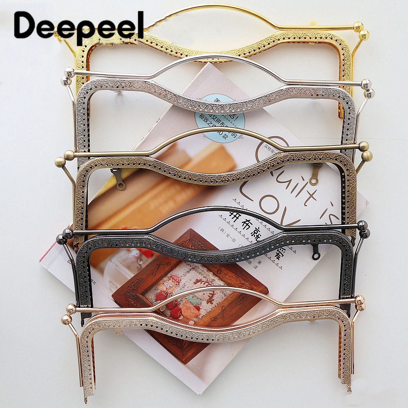 Deepeel 1pc/5pcs 20.5/27cm Retro Metal Bag Frame Lock Clasp Buckle Purse Frame Handle DIY Wallet Hand Pull Parts Accessories