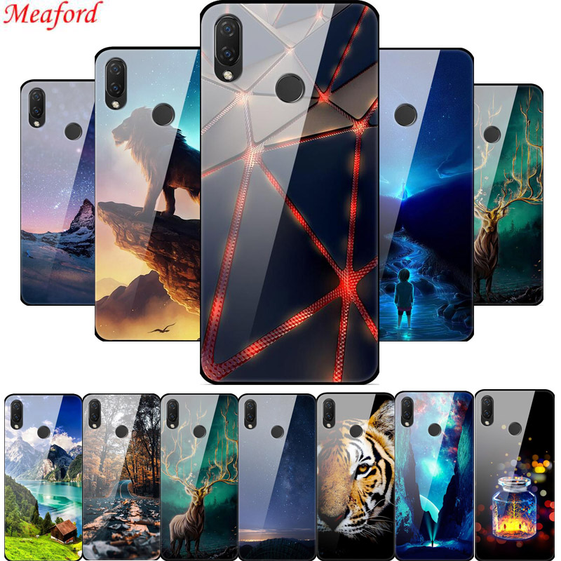 Tempered Glass <font><b>Case</b></font> For Huawei P Smart Plus Nova 3i <font><b>Honor</b></font> 8X 7C 7A Pro <font><b>9</b></font> <font><b>lite</b></font> Mate 20 <font><b>Lite</b></font> <font><b>Case</b></font> Luxury <font><b>Hard</b></font> Back Cover TPU Frame image