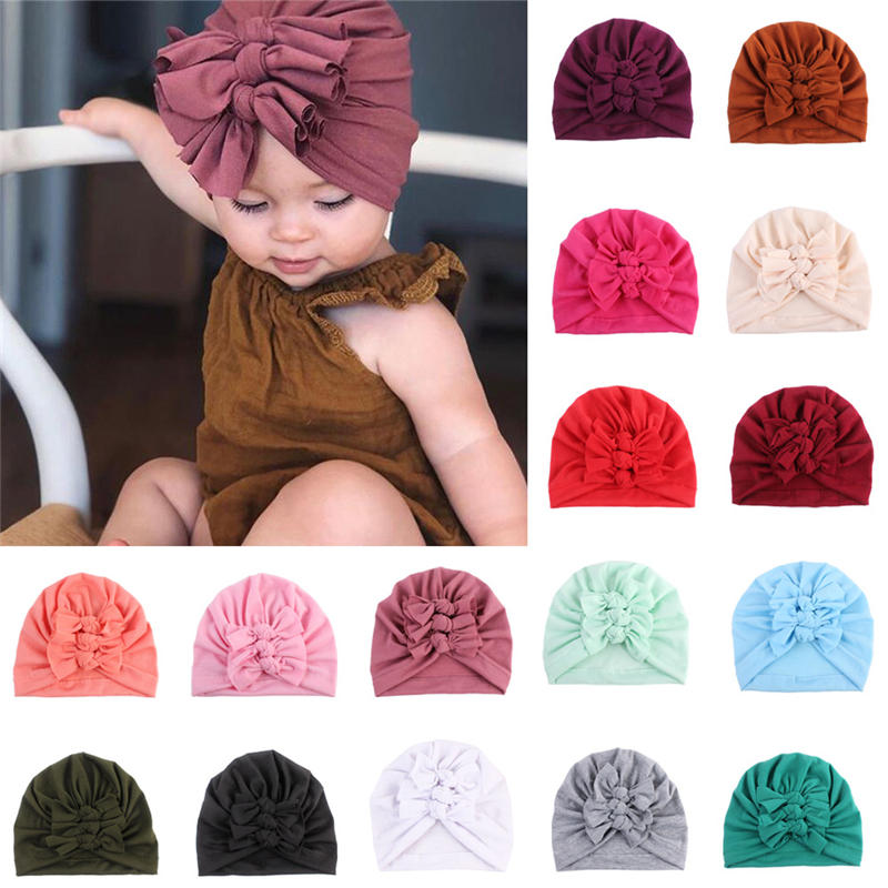 BalleenShiny Kids Hats Cotton Baby Bowknot Beanies Hat Infant Newborn Photography Props Children's Hat For Girl Boy Bonnet