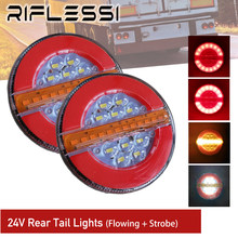2 x 24V Truck Trailer Round Tail Lights Sequential Turn Signal Brake Reverse LED Lamp Strobe Light Boat ATV Car Rear Light