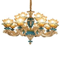 Francuski połysk stopu cynku doprowadziły żyrandole oświetlenie dla pokoju gościnnego kwiat szkło Led żyrandol światła sypialnia lampy wiszące lampy w Wiszące lampki od Lampy i oświetlenie na