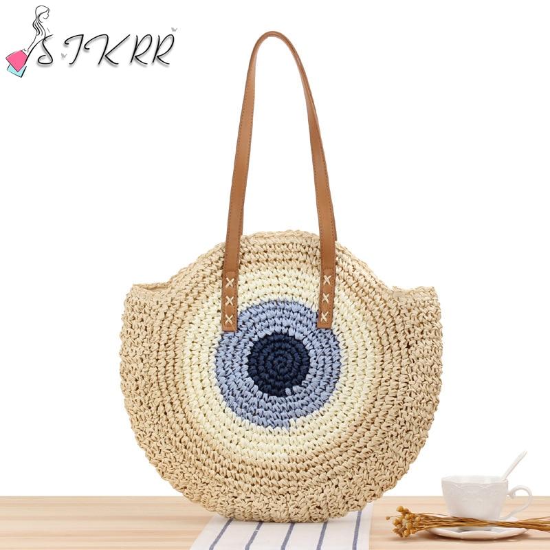 S.IKRR Women Bags 2020 Round Straw Bags Summer Rattan Bag Handmade Fashion Simple Shoulder Bag Bohemia Handbag Beach Designer