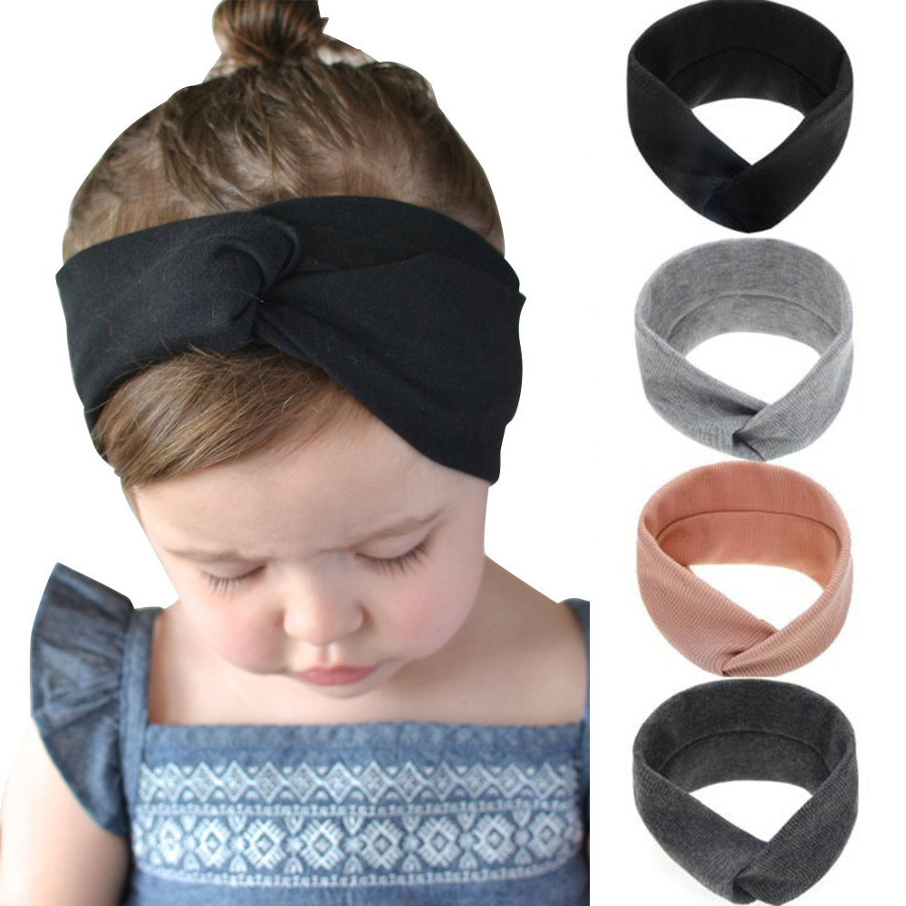 2019 Solid Color Baby Headband Girls Twisted Top Knot Elastic Turban Hairband Kids Haarband Baby Girl Head Wrap Hair Accessories