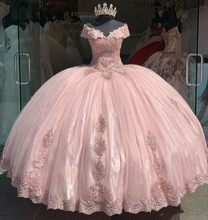 Modesto vestido de baile quinceanera vestidos fora do ombro apliques rendas doce 16 barato vestido de festa 15 anos