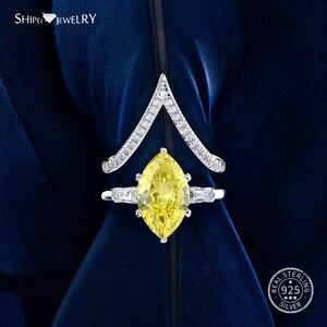 Image 5 - Shipei Natuurlijke Saffier Ring voor Vrouwen Echt 100% Sterling Zilveren Edelsteen Citrien Engagement Wedding Coctail Ring Fijne Sieraden