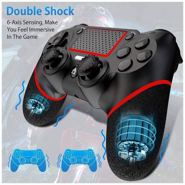 لوحة ألعاب لاسلكية ل PS4 صدمة مزدوجة أذرع التحكم في ألعاب الفيديو بلوتوث قابلة للشحن غمبد استبدال لمحطة اللعب 4