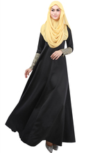 Middle East Abaya Muslim Women Dress Round Neck Sequin Zipper Long Skirt Arab  Big Swing