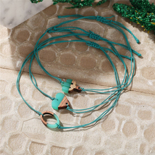 Ailodo Vintage Green Rope Chain Bracelets For Women Adjustable Wood Plastic Cactus Heart Charm Fashion Jewelry LD438