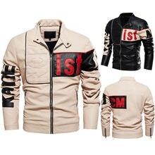 Мужская мотоциклетная куртка черная теплая из ПУ кожи европейские
