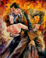 hand painted wall art painting dancers knife canvas painting Leonid Afremov artist reproduction wall hanging picture