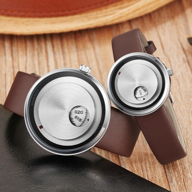 Minimalist Quartz Watch Women Men Casual Watches Couple Wrist Watch Lover Clock Unique Turntable Dial Male Sport Leather Strap